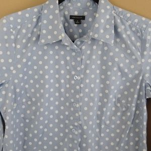 🌞Ann Taylor Blue Button Down Polkadot Shirt Sz 4